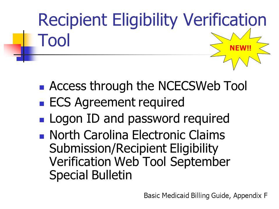 Recipient Eligibility Verification Tool
