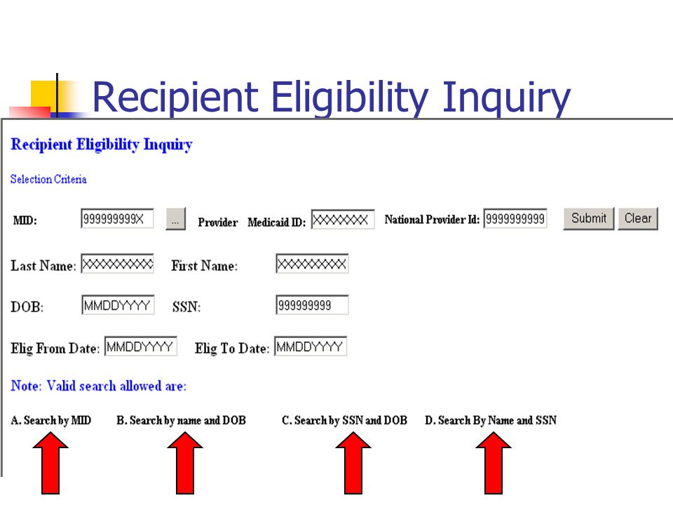 Recipient Eligibility Inquiry