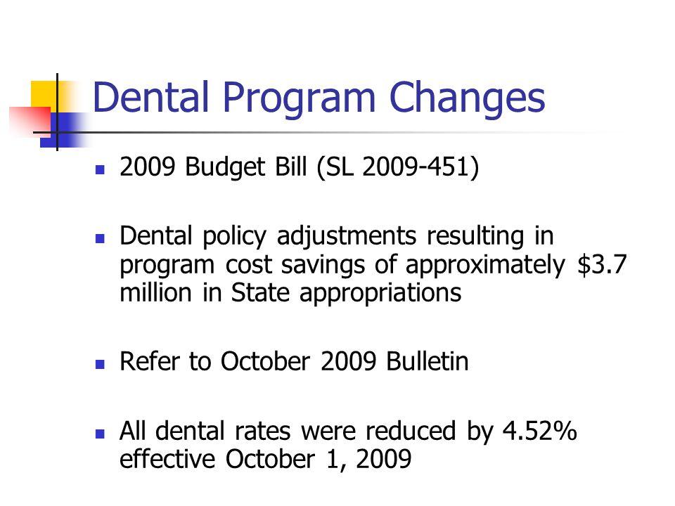Dental Program Changes