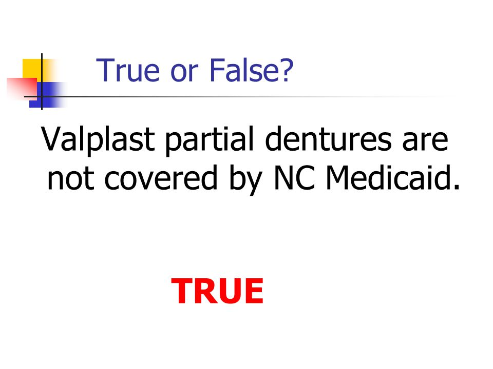Valplast partial dentures are not covered by NC Medicaid.