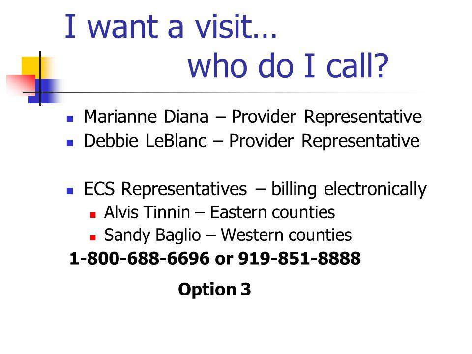I want a visit… who do I call