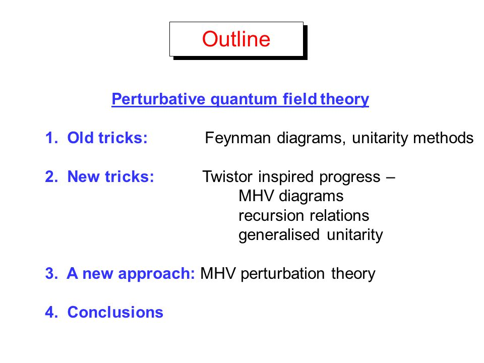 Outline Perturbative quantum field theory