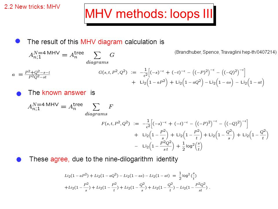 MHV methods: loops III The result of this MHV diagram calculation is