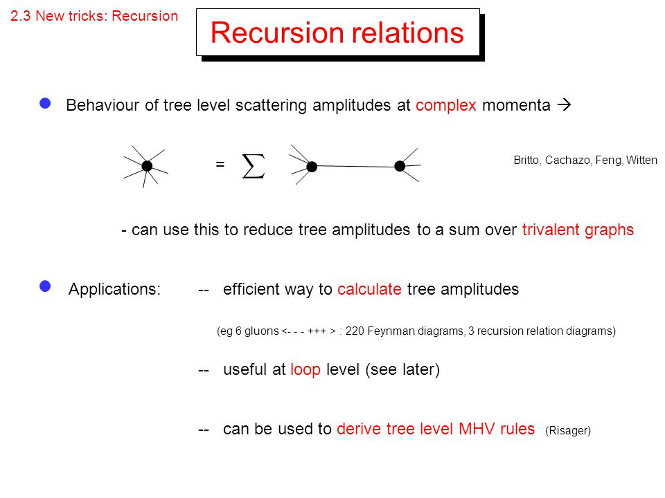 2.3 New tricks: Recursion Recursion relations. Behaviour of tree level scattering amplitudes at complex momenta 