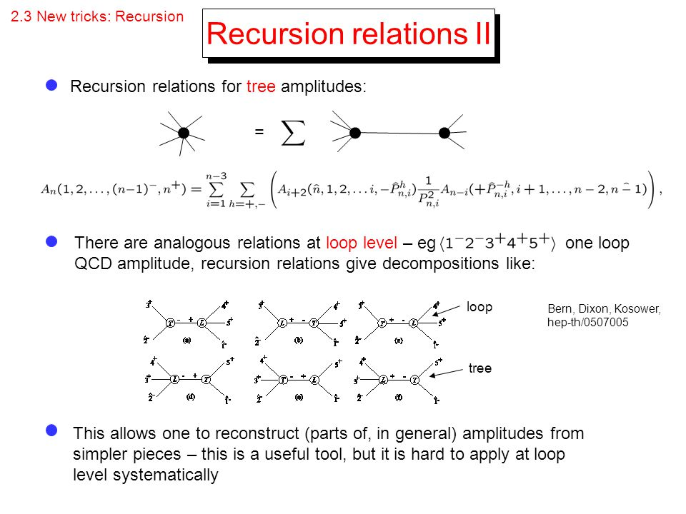 Recursion relations II