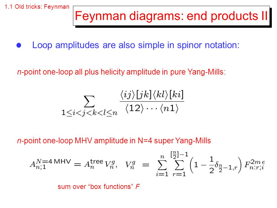 Feynman diagrams: end products II