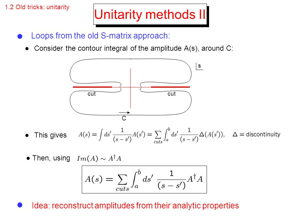 Unitarity methods II Loops from the old S-matrix approach: