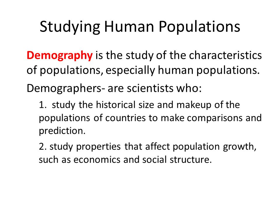 Studying Human Populations