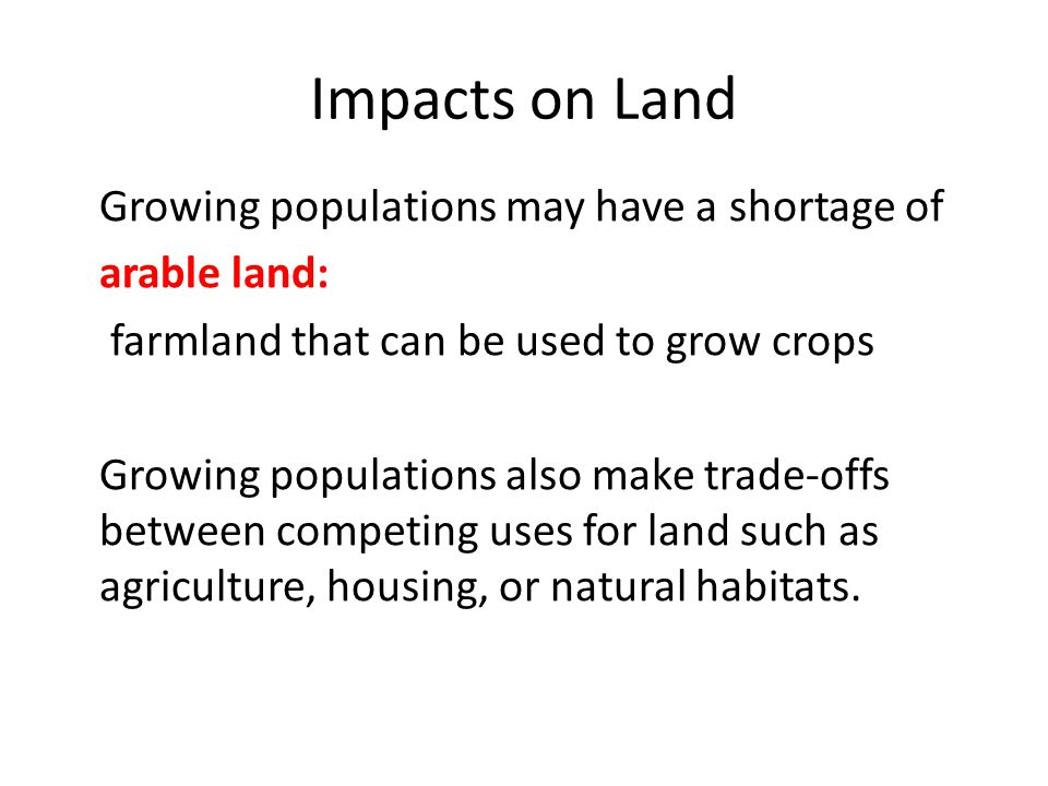 Impacts on Land Growing populations may have a shortage of