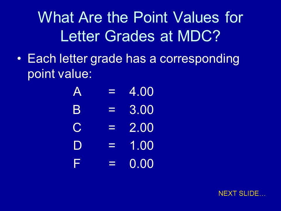 What Are the Point Values for Letter Grades at MDC