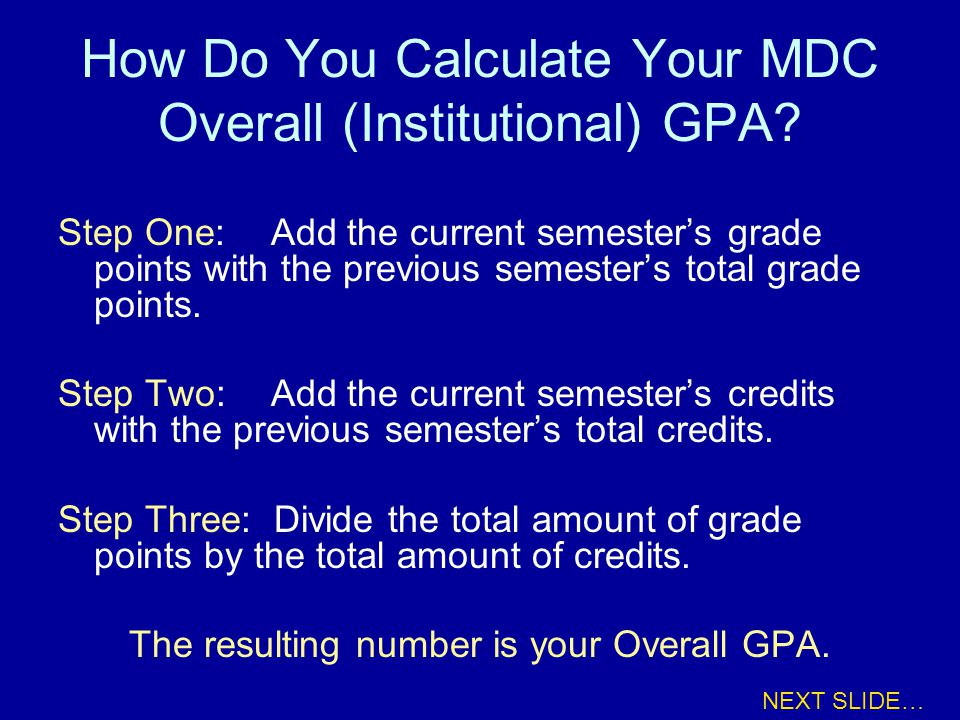 How Do You Calculate Your MDC Overall (Institutional) GPA