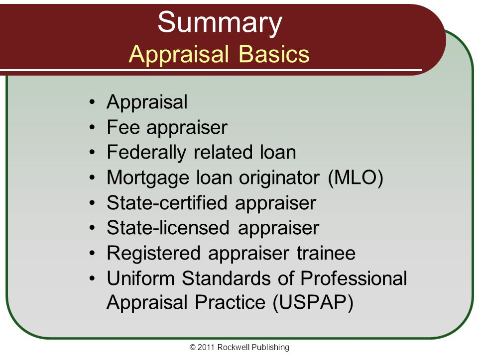 Summary Appraisal Basics