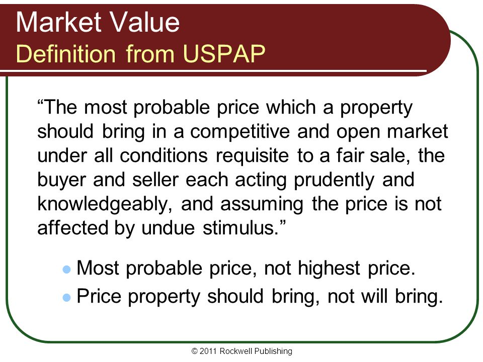 Market Value Definition from USPAP