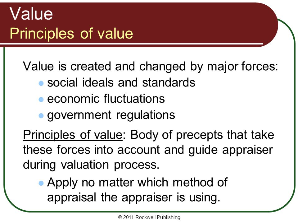 Value Principles of value