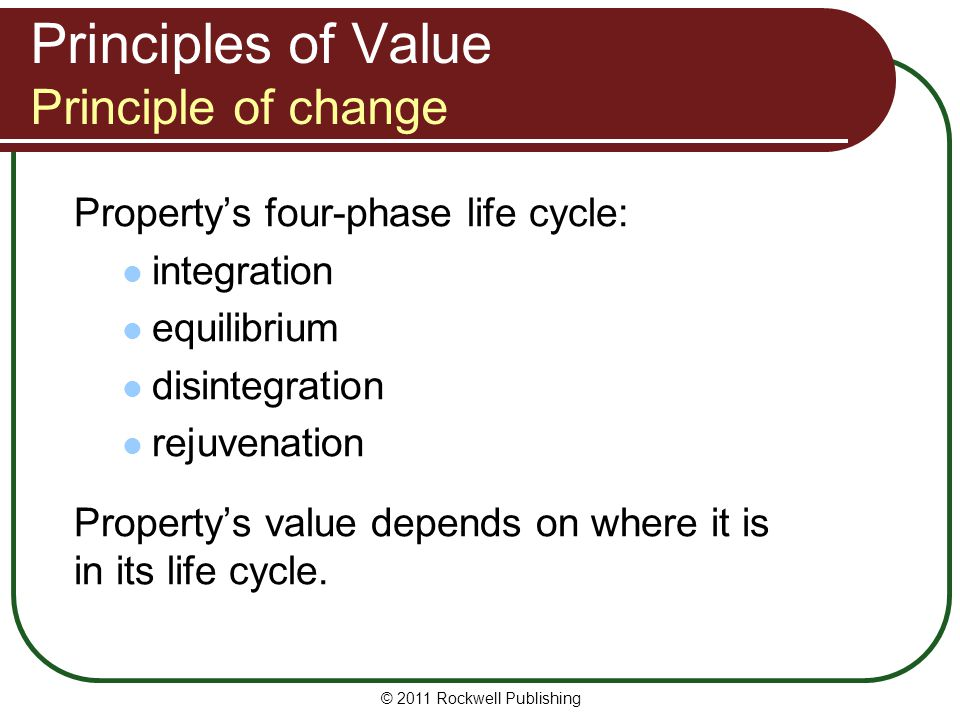 Principles of Value Principle of change