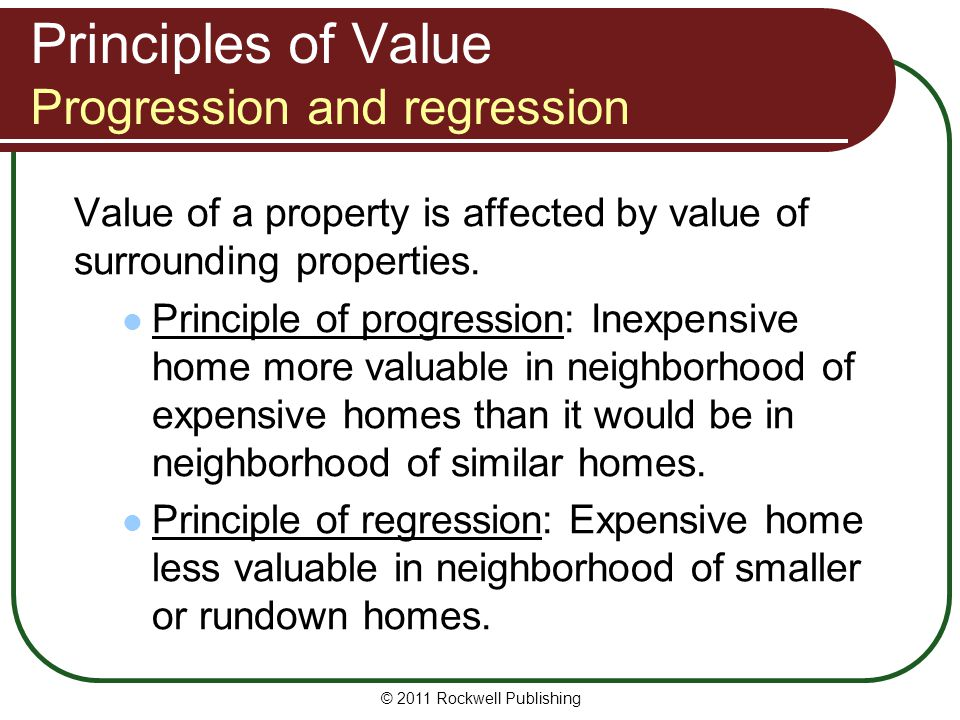 Principles of Value Progression and regression