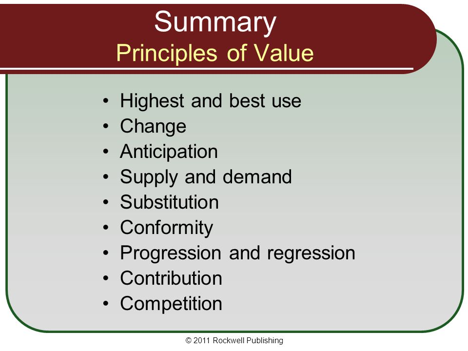 Summary Principles of Value