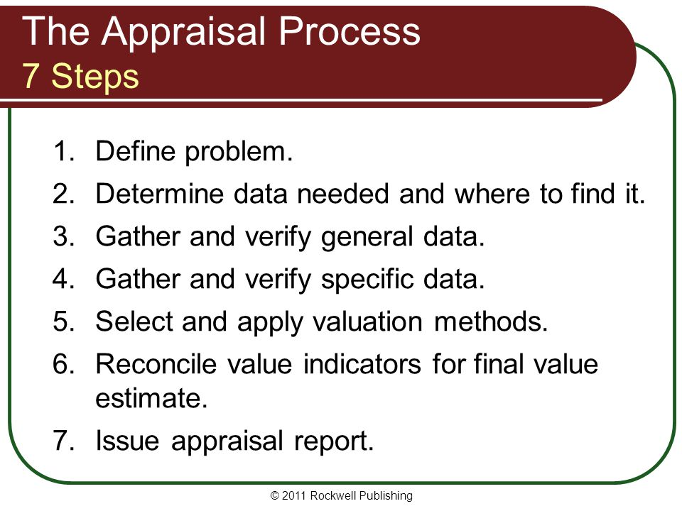 The Appraisal Process 7 Steps