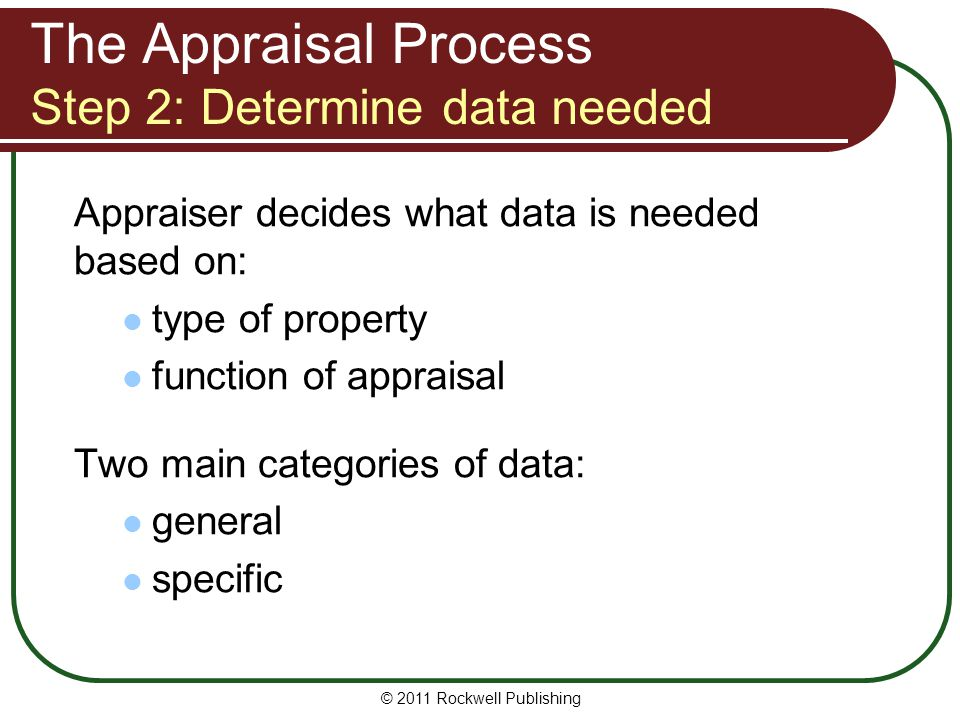 The Appraisal Process Step 2: Determine data needed