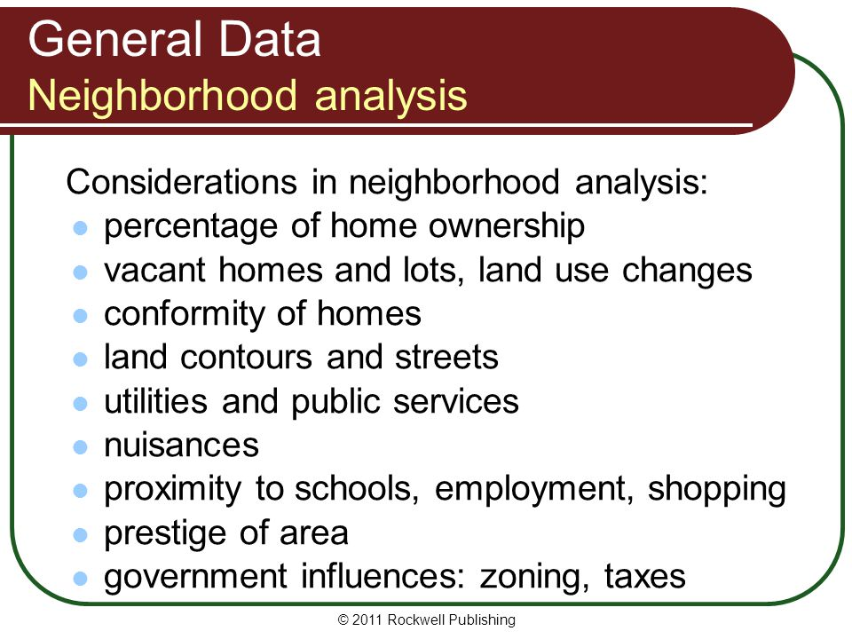 General Data Neighborhood analysis