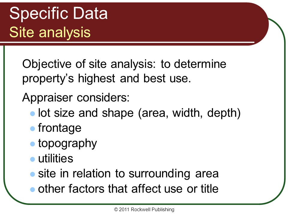 Specific Data Site analysis