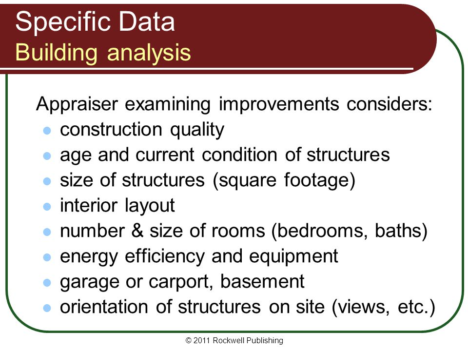 Specific Data Building analysis