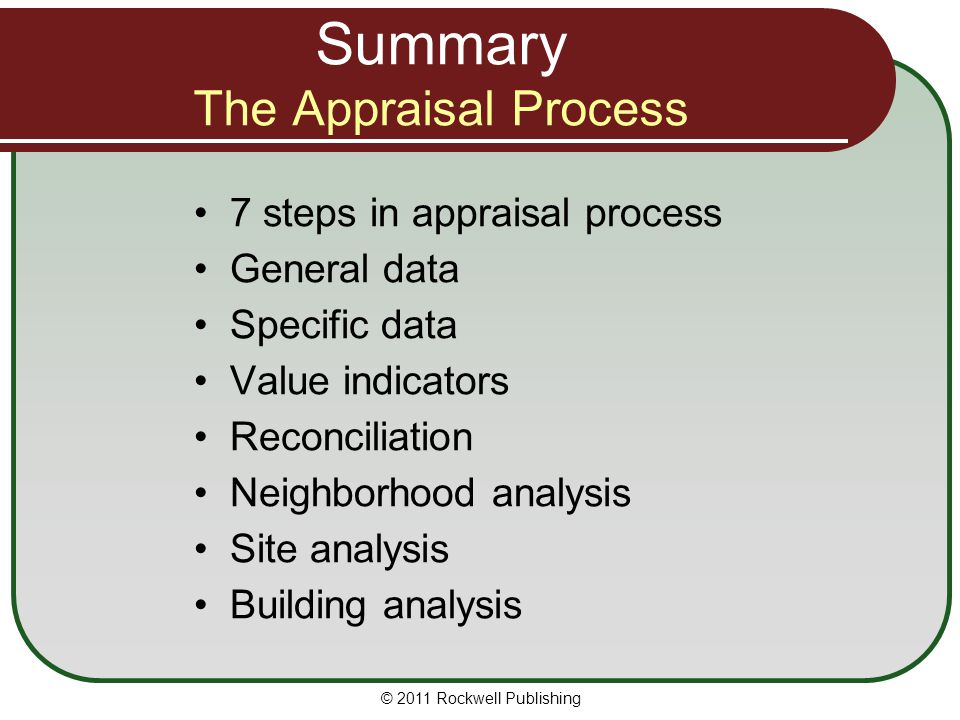 Summary The Appraisal Process