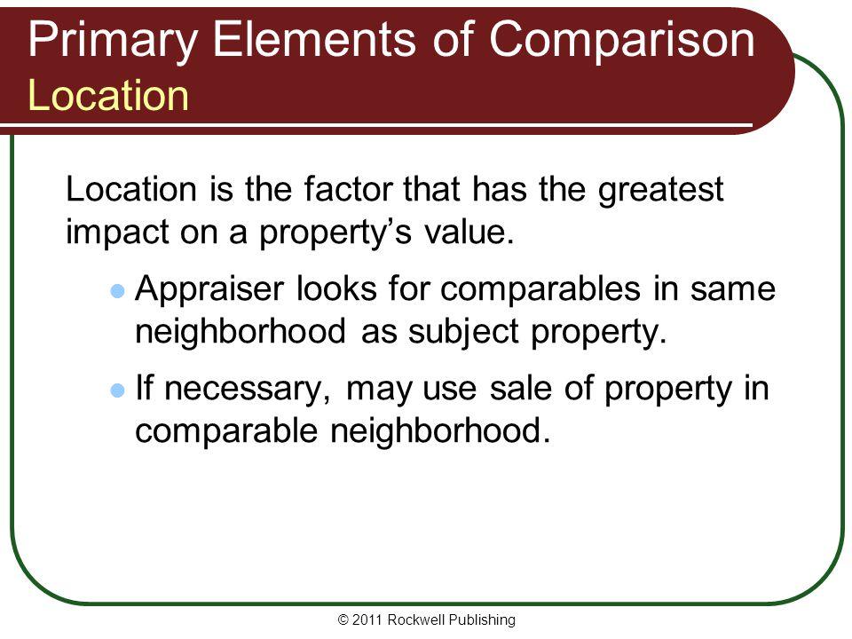 Primary Elements of Comparison Location