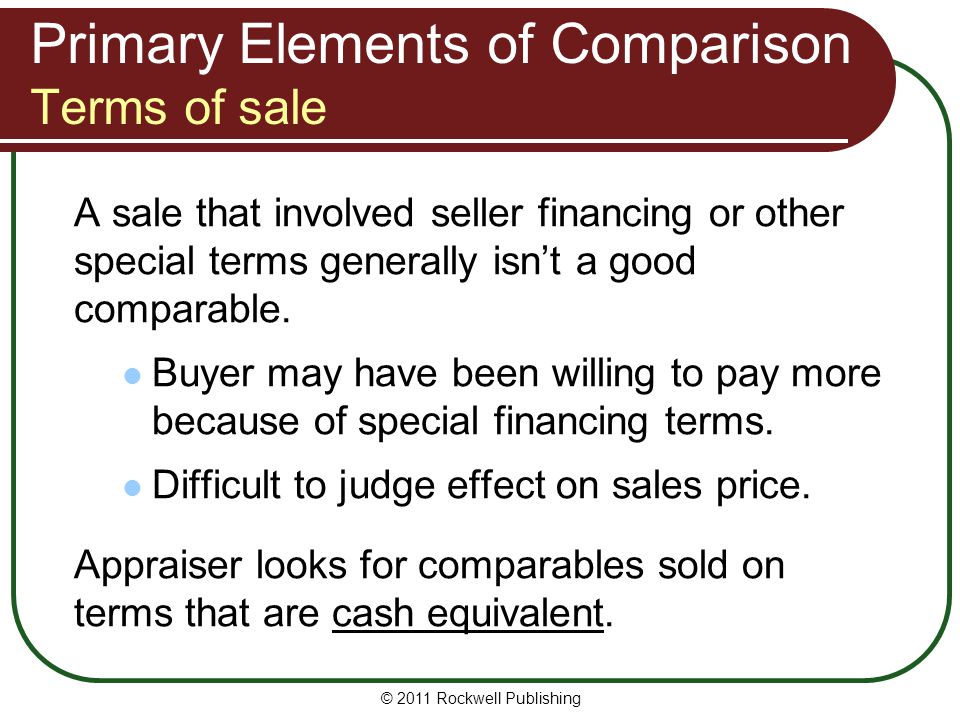 Primary Elements of Comparison Terms of sale