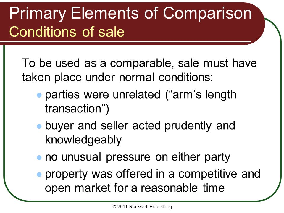Primary Elements of Comparison Conditions of sale