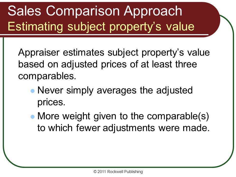 Sales Comparison Approach Estimating subject property's value