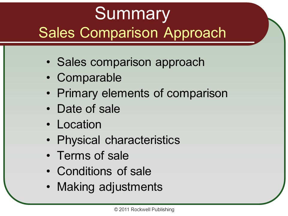Summary Sales Comparison Approach