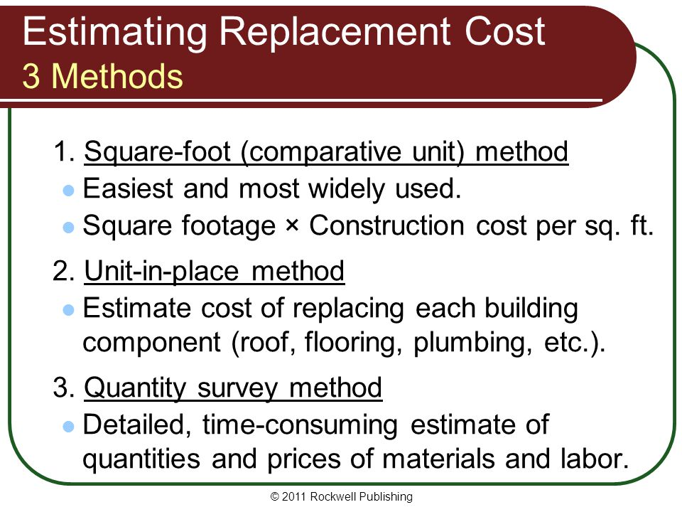 Estimating Replacement Cost 3 Methods