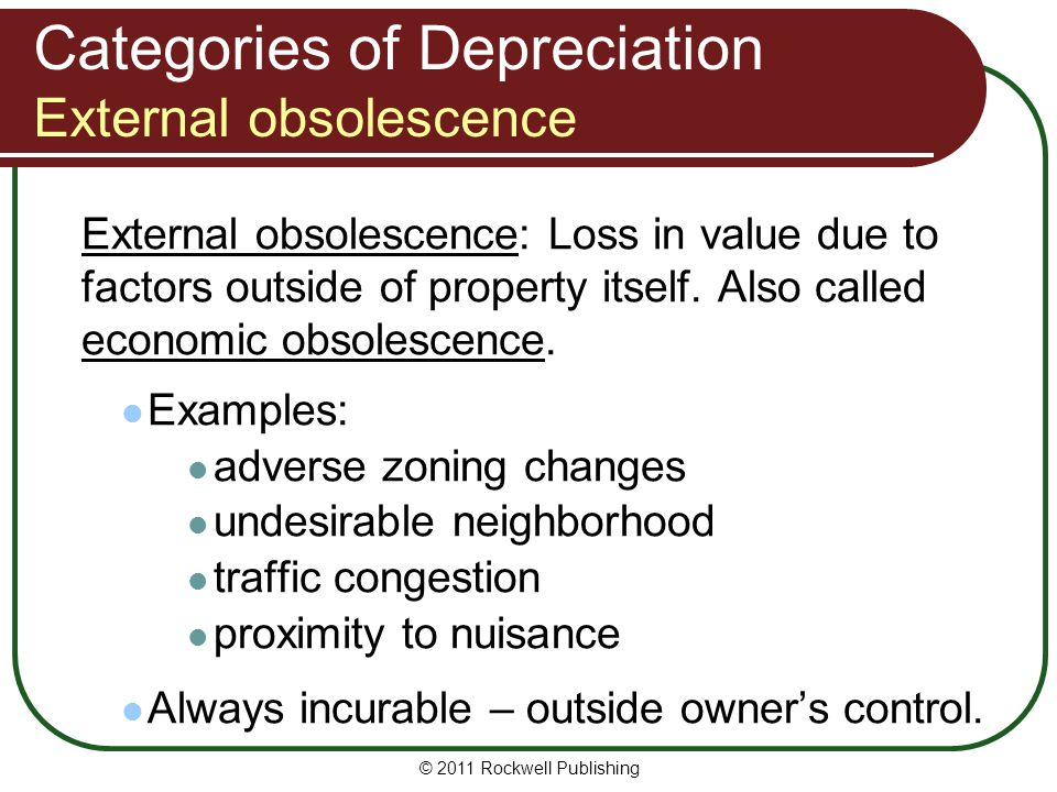 Categories of Depreciation External obsolescence