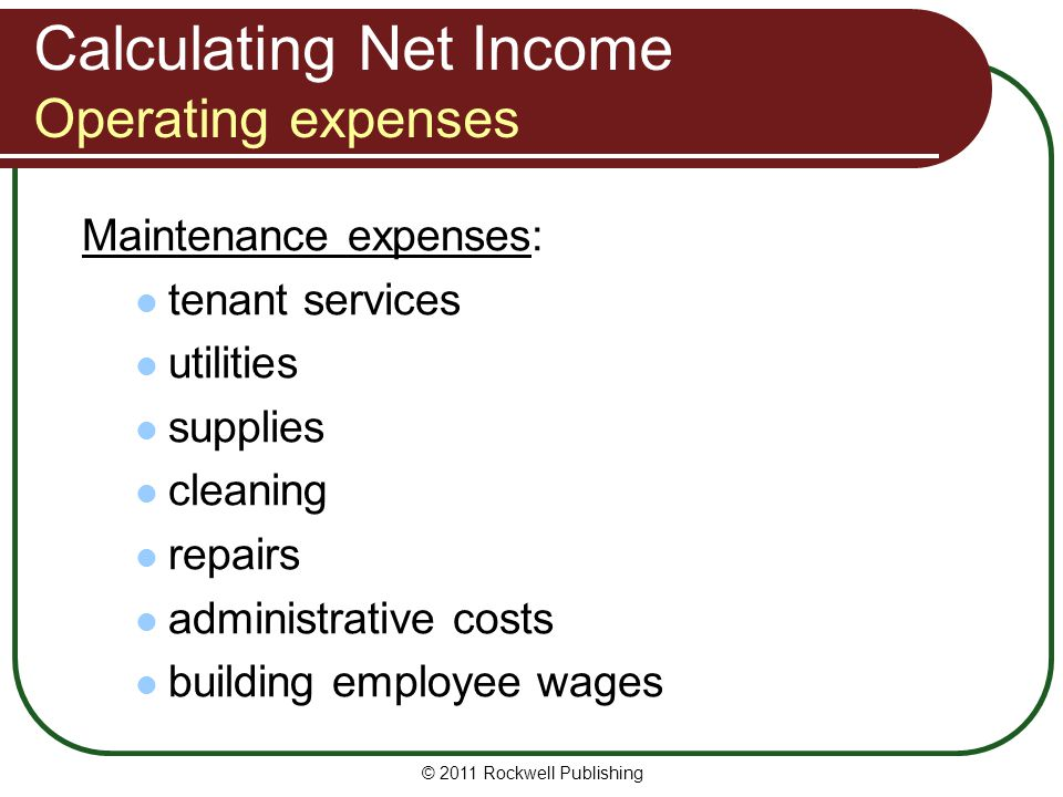Calculating Net Income Operating expenses