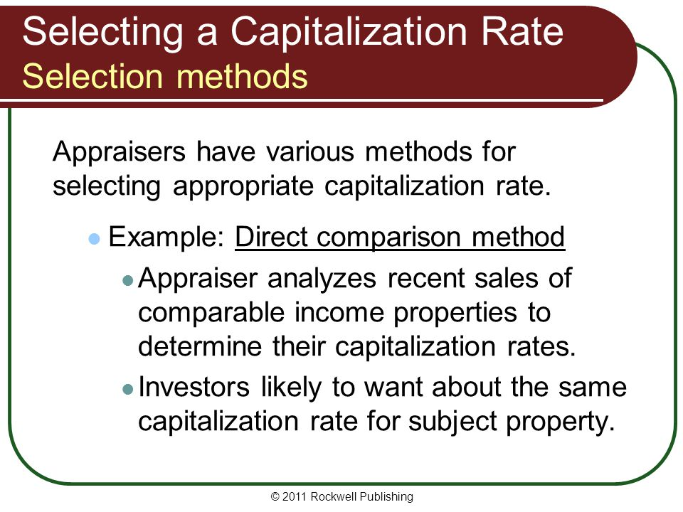 Selecting a Capitalization Rate Selection methods