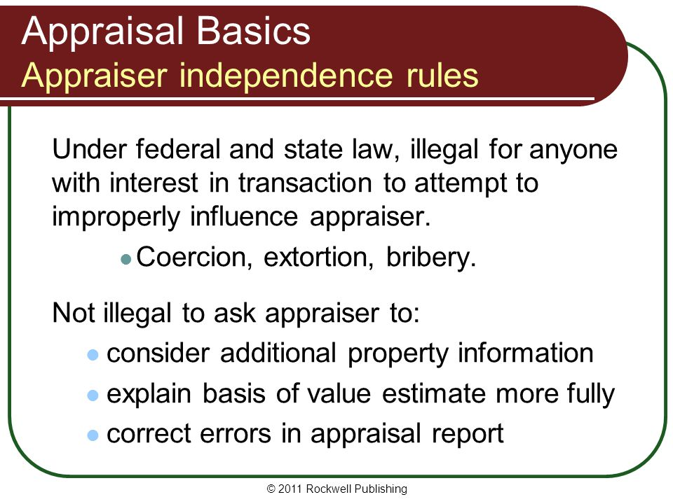 Appraisal Basics Appraiser independence rules