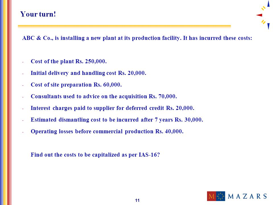 Your turn! ABC & Co., is installing a new plant at its production facility. It has incurred these costs: