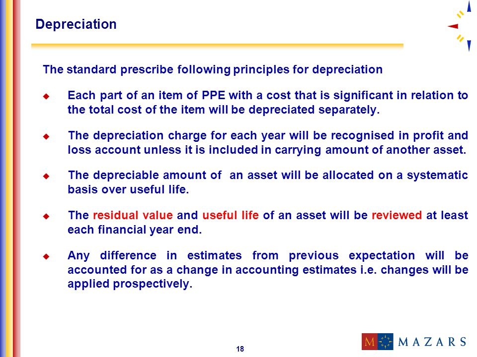 Depreciation The standard prescribe following principles for depreciation.