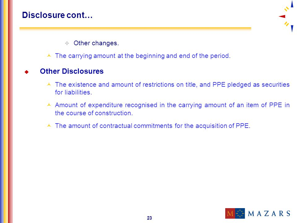 Disclosure cont… Other Disclosures Other changes.