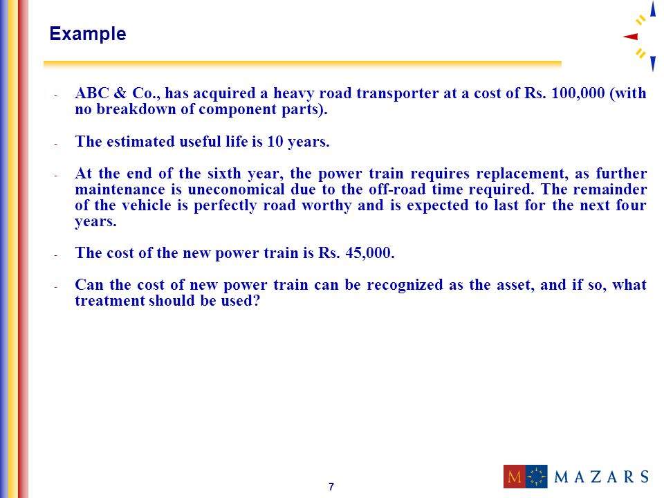 Example ABC & Co., has acquired a heavy road transporter at a cost of Rs. 100,000 (with no breakdown of component parts).