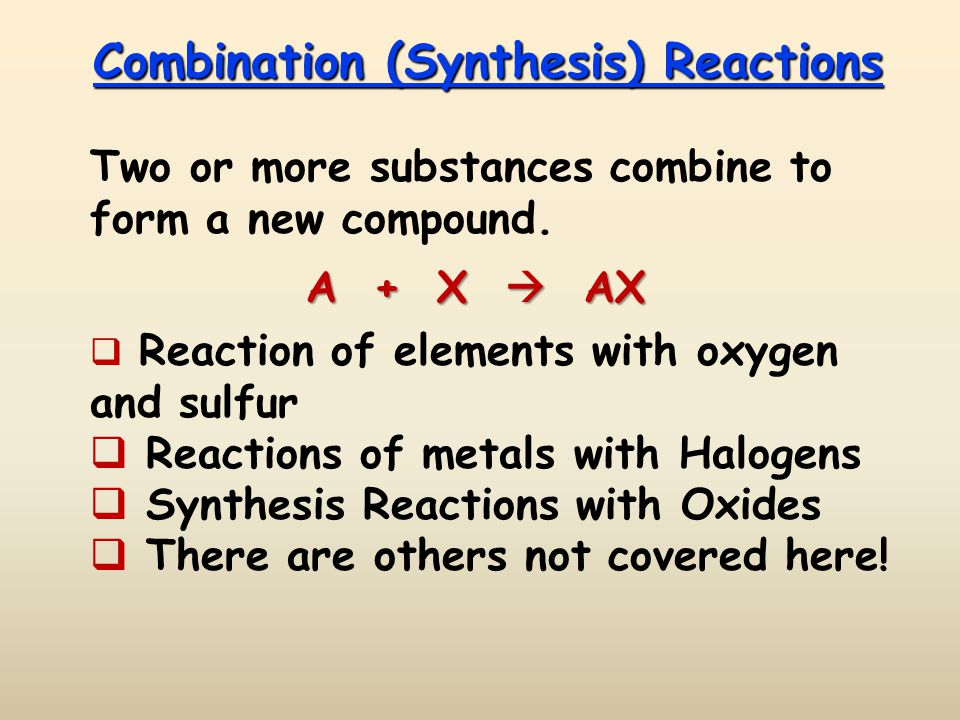 Combination (Synthesis) Reactions