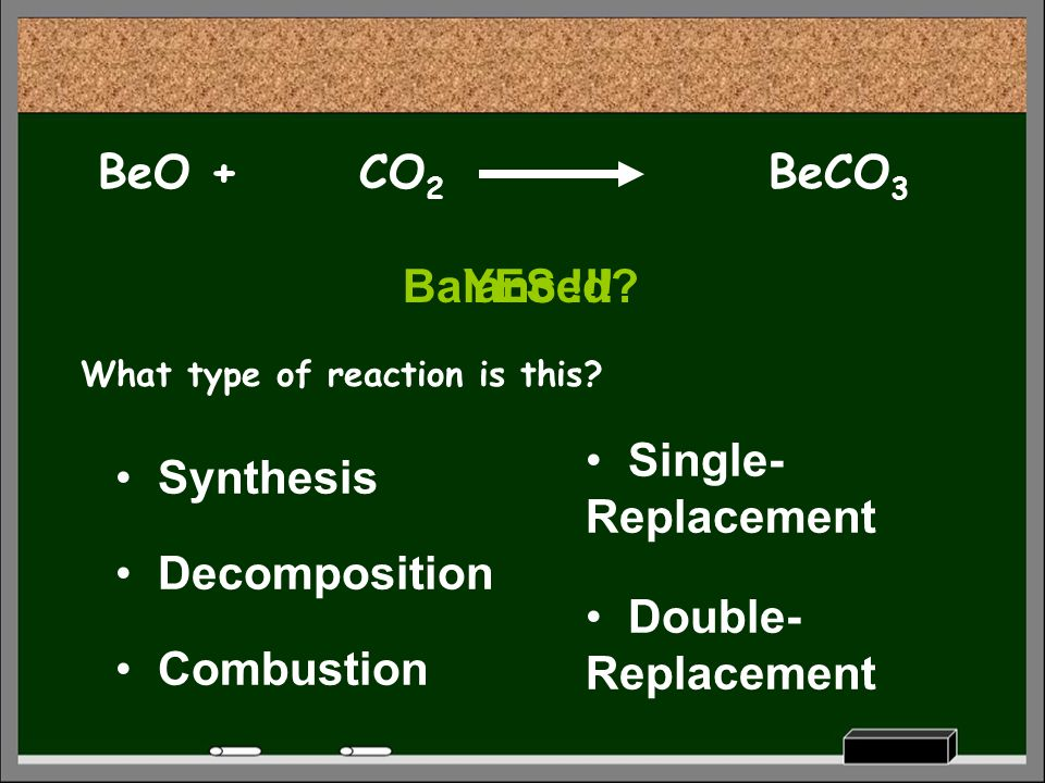 BeO + CO2 BeCO3 Balanced YES !!! Single-Replacement Synthesis