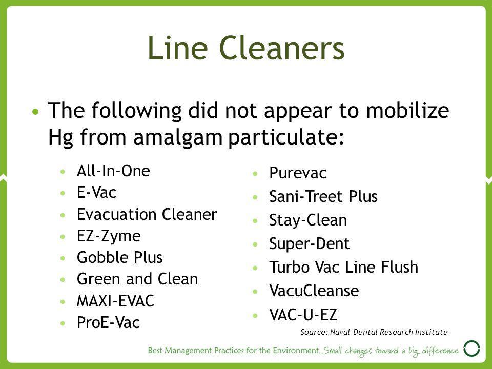 Line Cleaners The following did not appear to mobilize Hg from amalgam particulate: All-In-One. E-Vac.