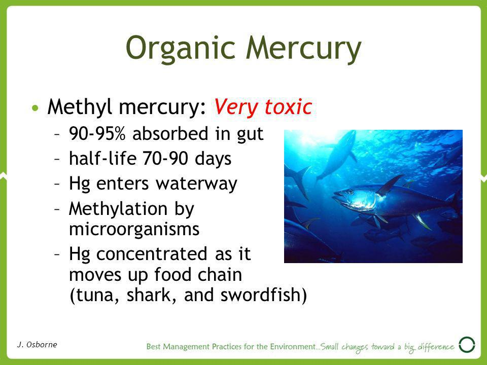 Organic Mercury Methyl mercury: Very toxic 90-95% absorbed in gut