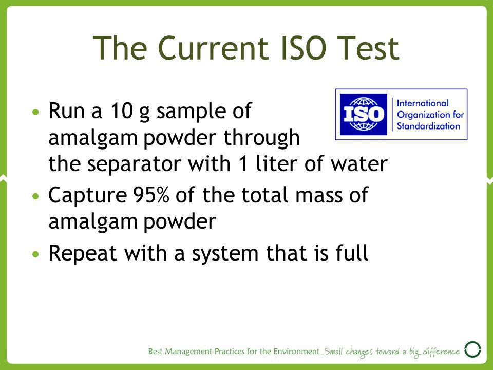 The Current ISO Test Run a 10 g sample of amalgam powder through the separator with 1 liter of water.