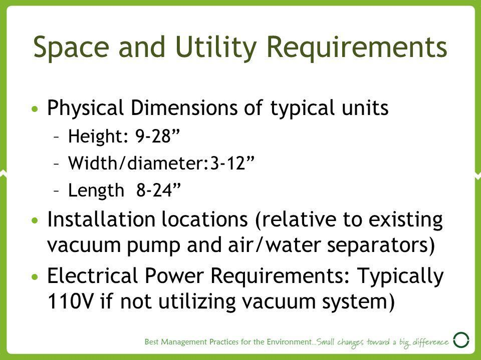 Space and Utility Requirements