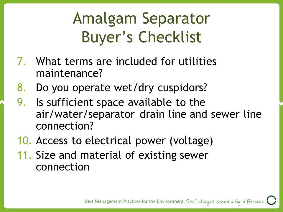 Amalgam Separator Buyer's Checklist