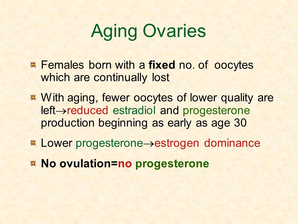 Aging Ovaries Females born with a fixed no. of oocytes which are continually lost.