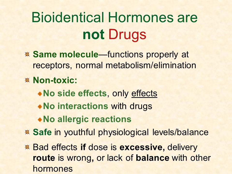 Bioidentical Hormones are not Drugs